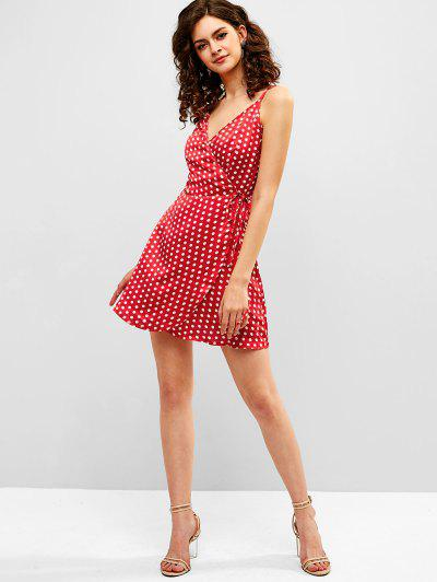 ZAFUL Polka Dot Mini Wrap Dress, Red