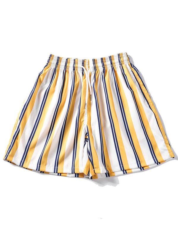Striped Design Casual Shorts, Goldenrod