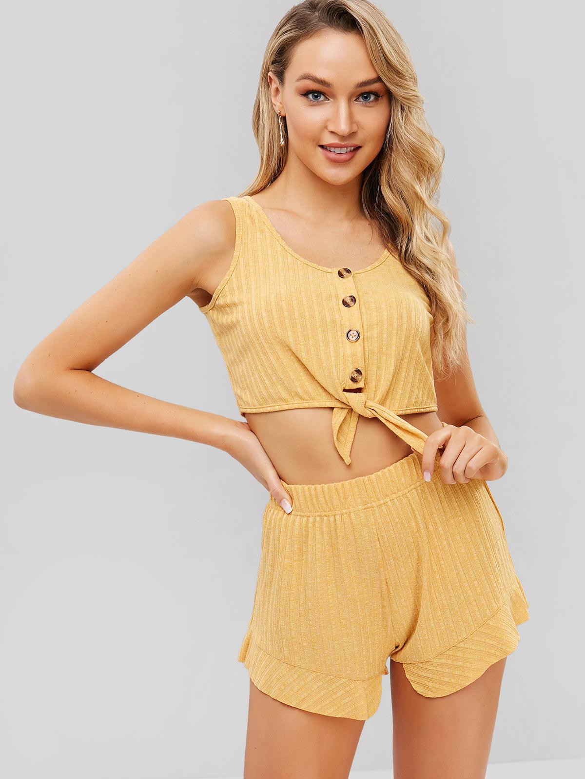 ZAFUL Tie Front Button Up Top And Shorts Set, Goldenrod