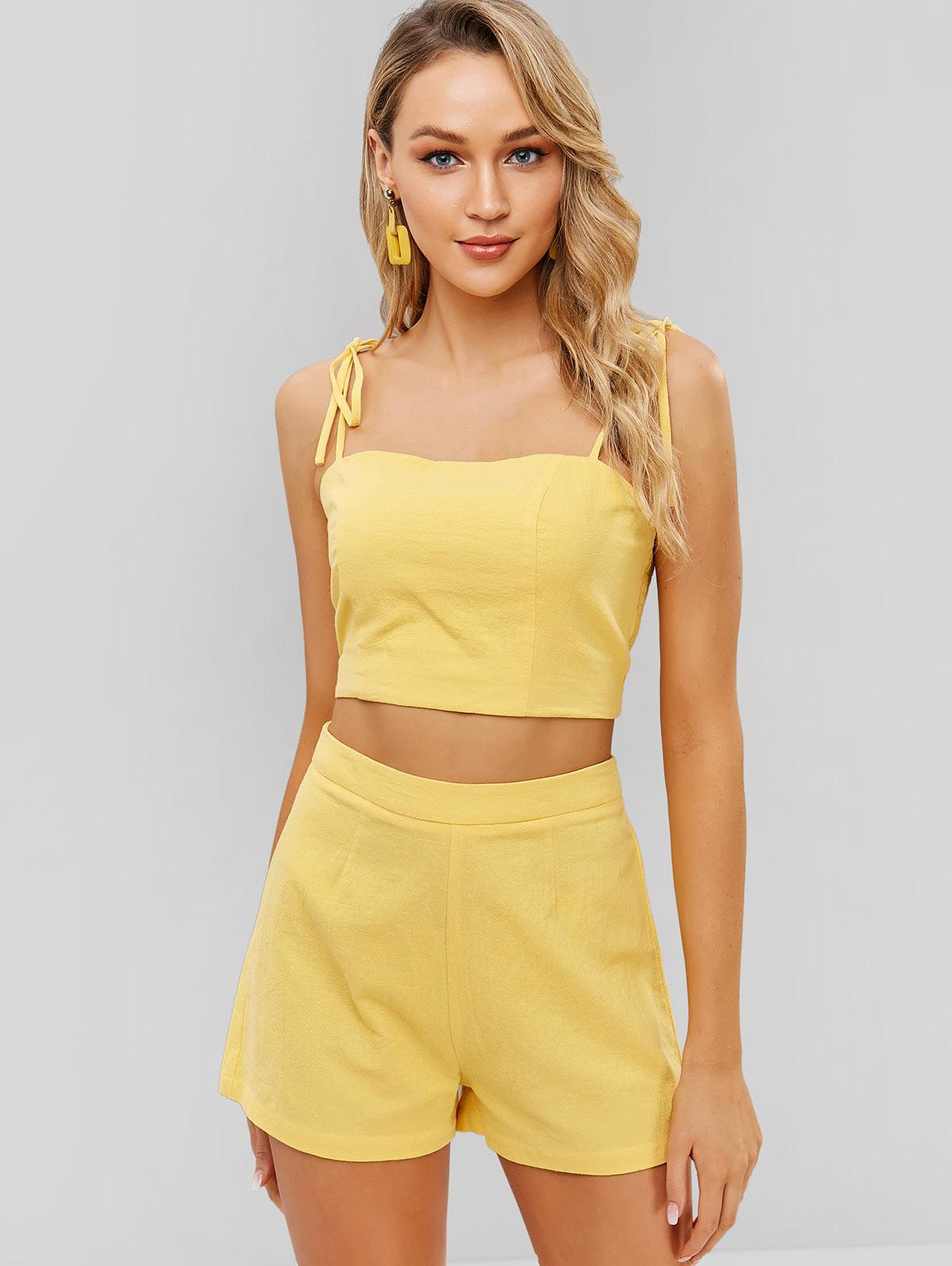ZAFUL Tied Straps Smocked Cami Top And Shorts Set, Bright yellow