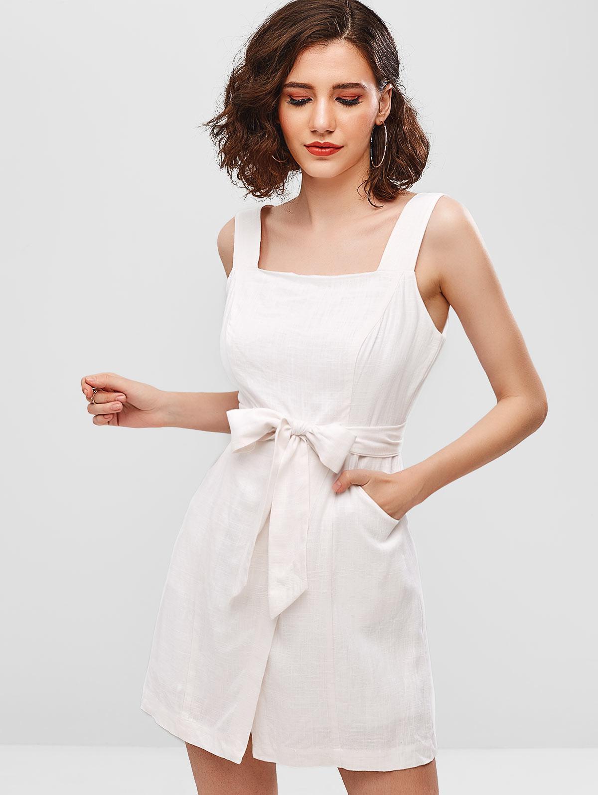 ZAFUL Sleeveless Plain Belted Overlap Dress thumbnail