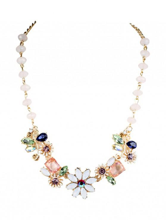 online Faux Gem Flower Necklace - GOLDEN