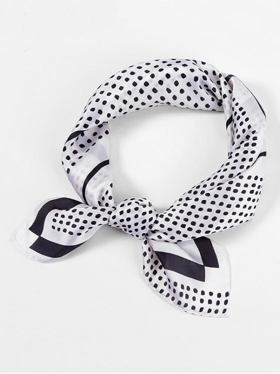 women Small Dots Print Square Scarf - WHITE