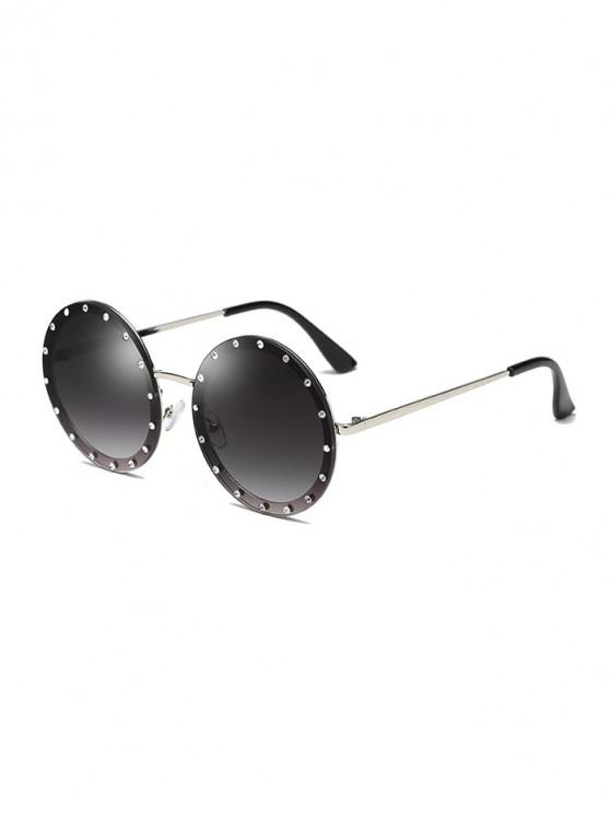 shop Rhinestone Outdoor Round Sunglasses - DARK GRAY