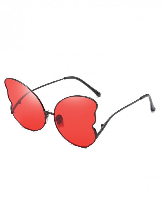 trendy Metal Butterfly Shape Frame Stylish Sunglasses - RED