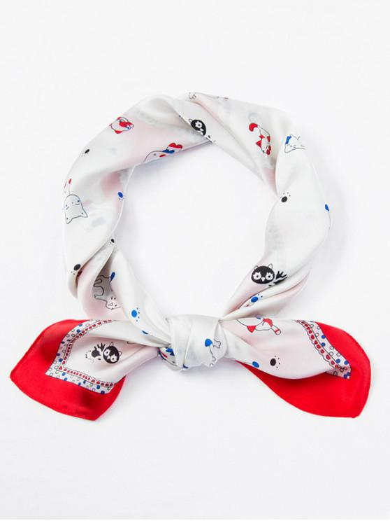 chic Cat Dog Pattern Square Scarf - WHITE