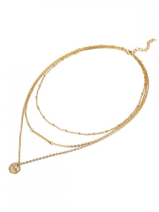 lady Disc Bar Pendant Multilayer Necklace - GOLD