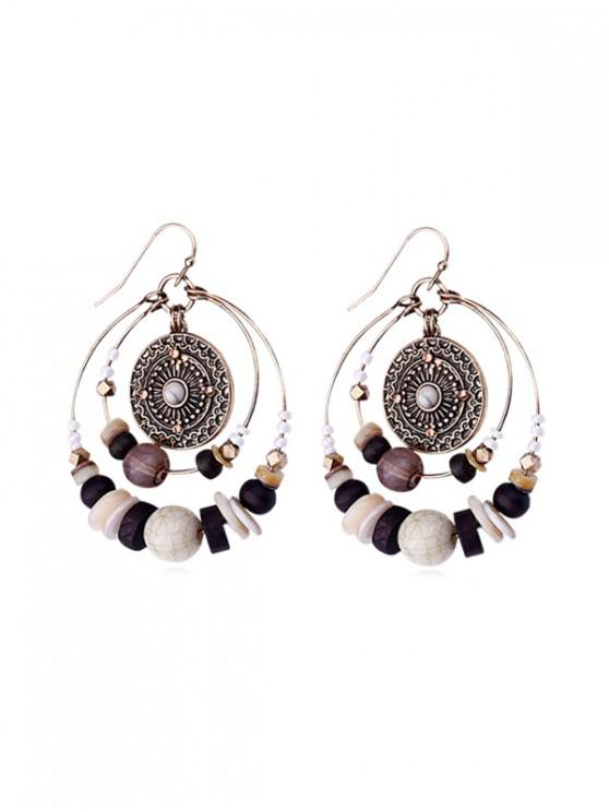 shops Ethnic Carved Beaded Circle Earrings - MULTI