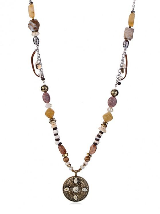 shop Faux Stone Beaded Round Necklace - MULTI