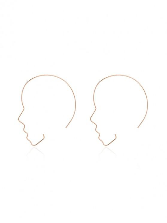 unique People Face Shape Hoop Earrings - GOLD