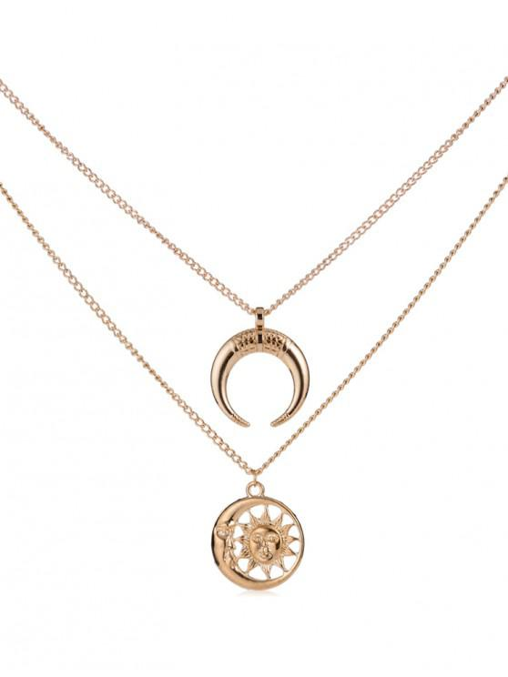affordable Creative Moon and Sun Pendant Necklace - GOLD