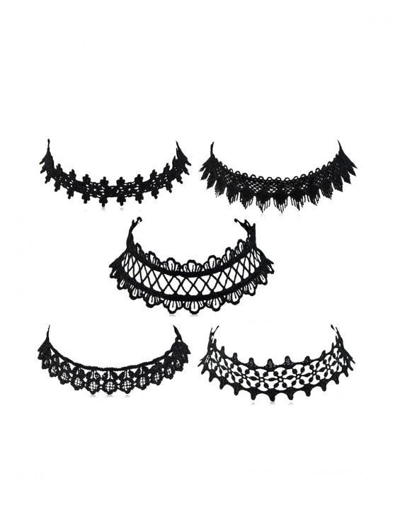 women's 5Pcs Lace Choker Necklace Set - BLACK