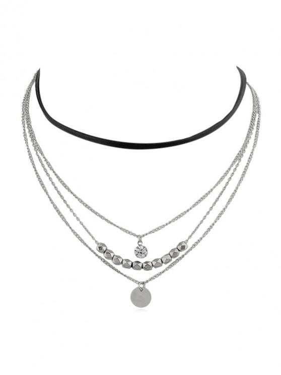 buy 4Pcs Beaded Pendant Necklace Set - SILVER