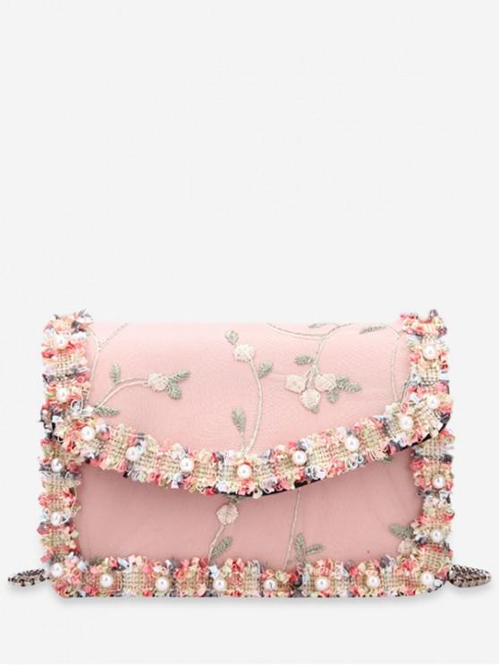 women Lace Embroidery Flower Shoulder Bag - PINK