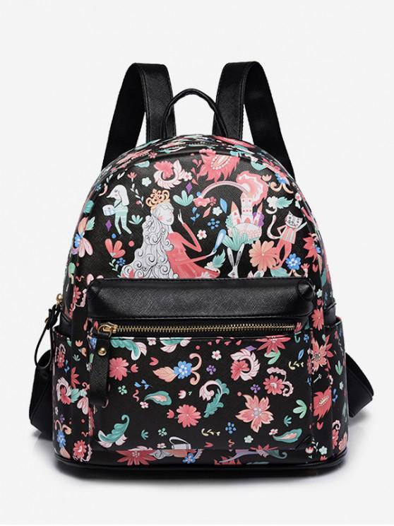 best Flower Fairy Print College Backpack - BLACK