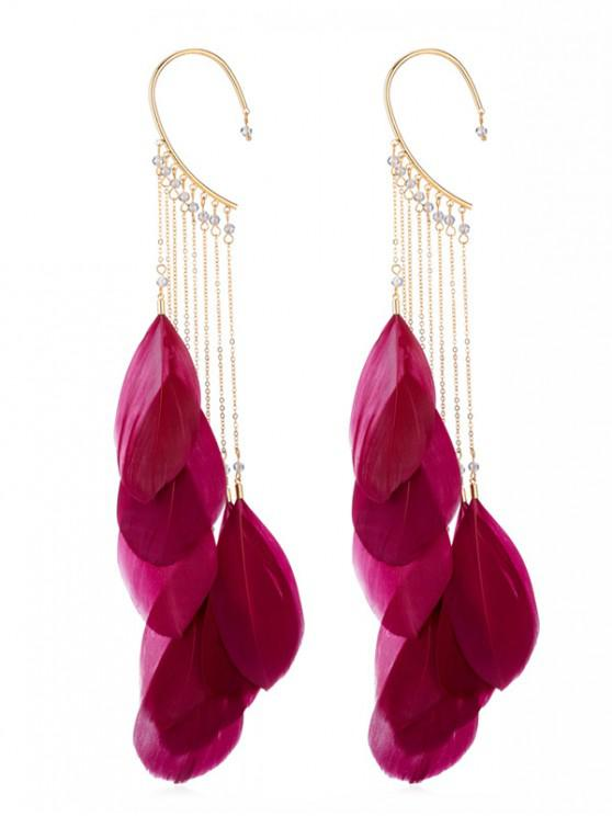 affordable Pair of Feathers Fringed Earrings - RED
