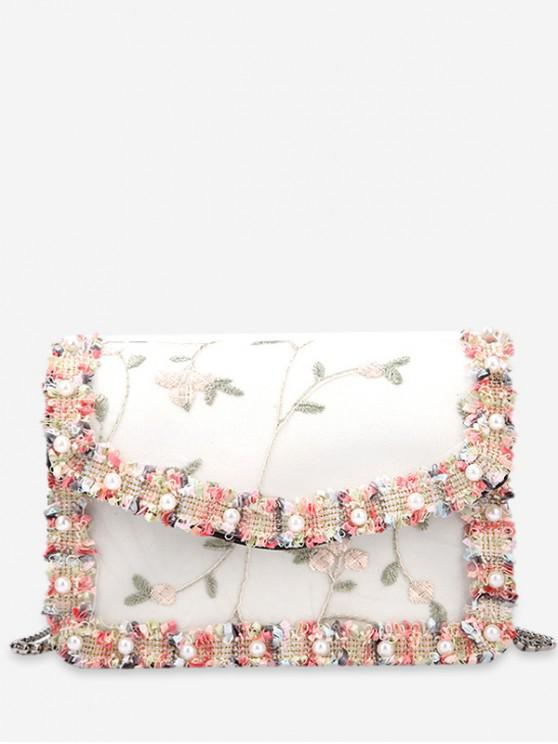 women Lace Embroidery Flower Shoulder Bag - WHITE