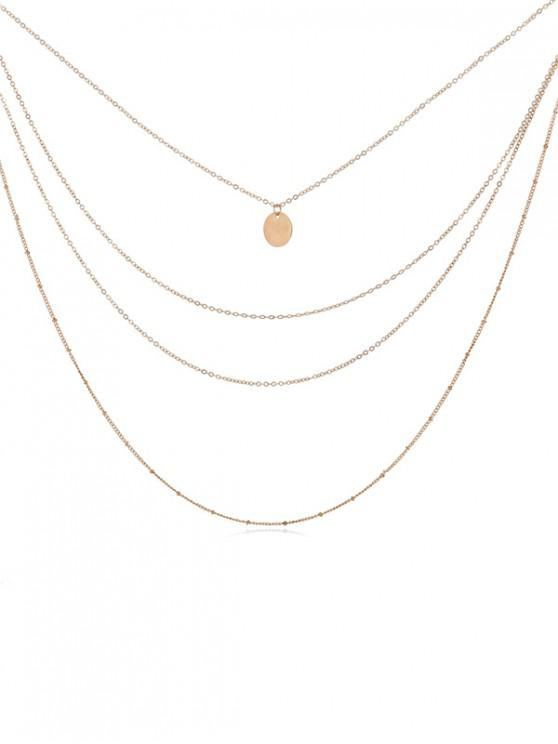 new Round Pendant Layered Necklace - GOLD
