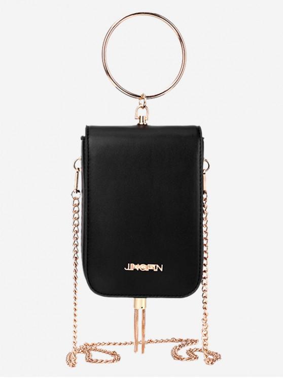 hot Chain Mini Tassel Shoulder Bag - BLACK
