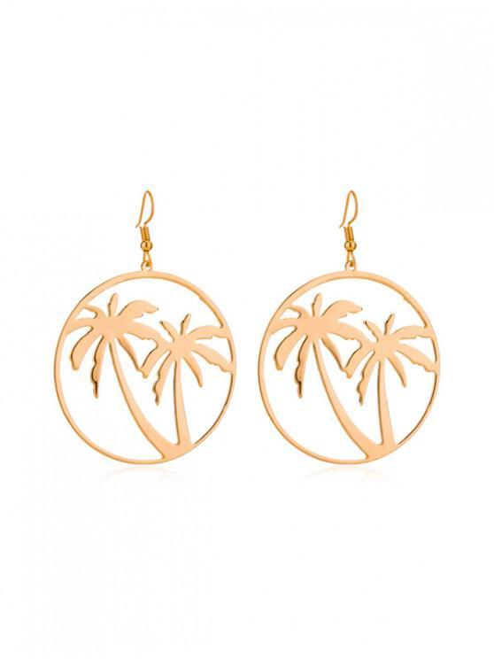 Palme Baum- Kreis- Haken -Ohrringe - Gold