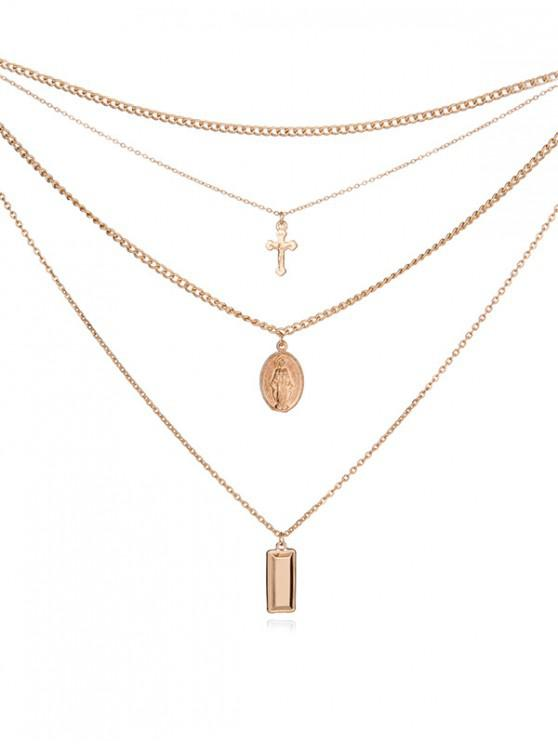fancy Layered Pendant Crucifix Necklace - GOLD