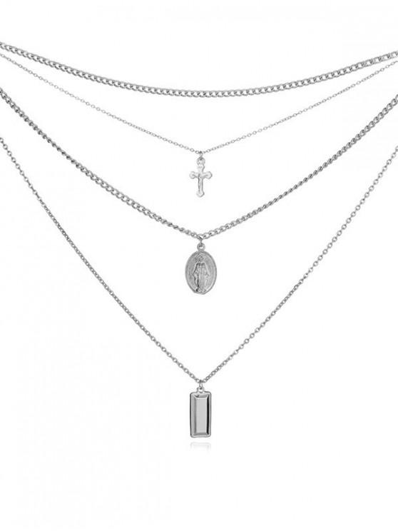 sale Layered Pendant Crucifix Necklace - SILVER