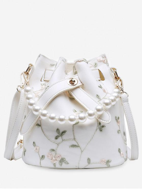 affordable Flower Lace Bucket Crossbody Bag - WHITE