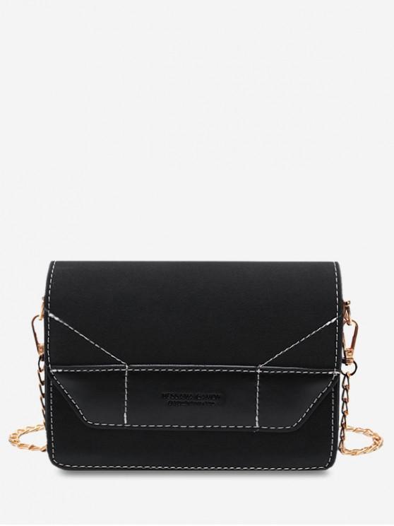 new Contrast Color Chain Sling Bag - BLACK