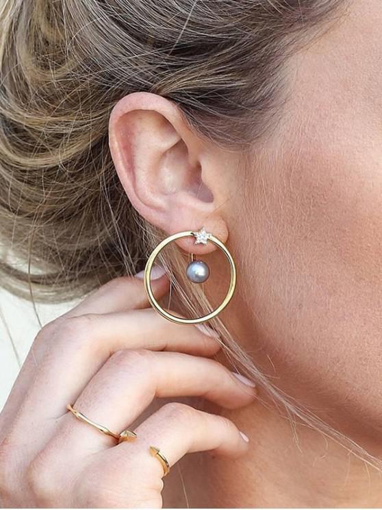 Boucles d'Oreilles Cercle Etoile en Fausse Perle avec Strass - Or