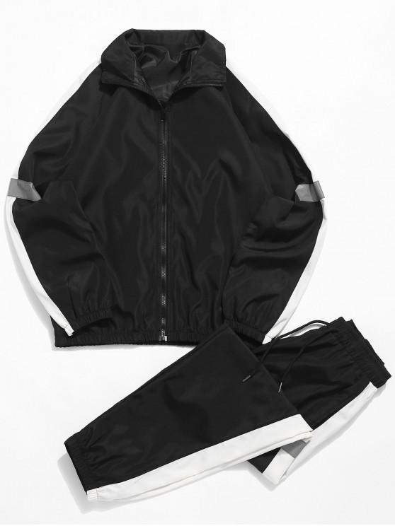 womens Raglan Sleeves Color Block Casual Suits - BLACK M