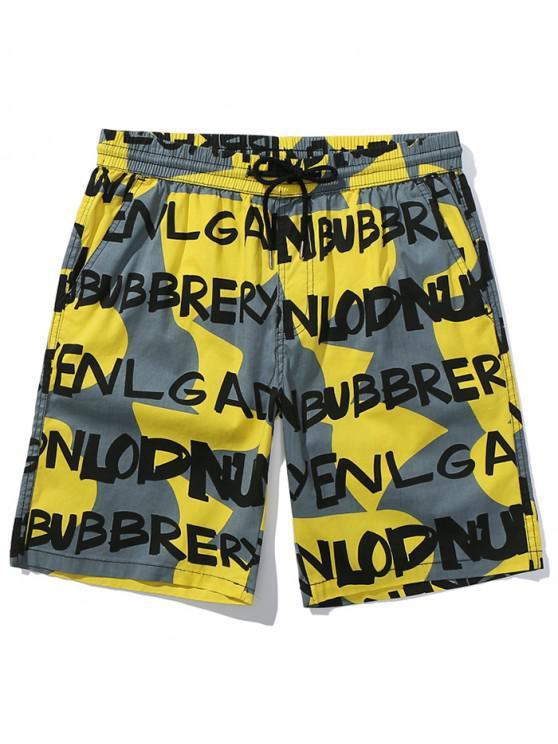 Pantalones cortos con estampado geométrico irregular de letras - Amarillo de Maíz M