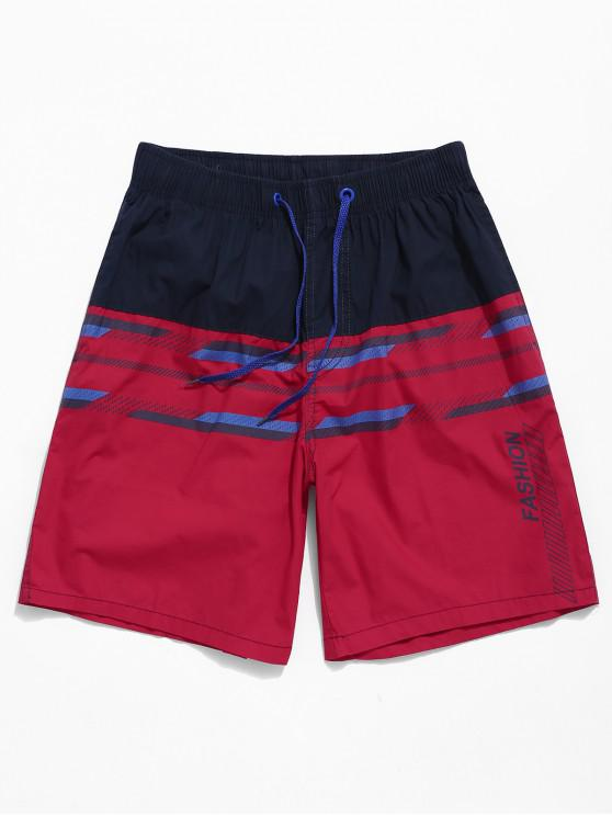 fashion Striped Letters Print Color Block Shorts - RED L