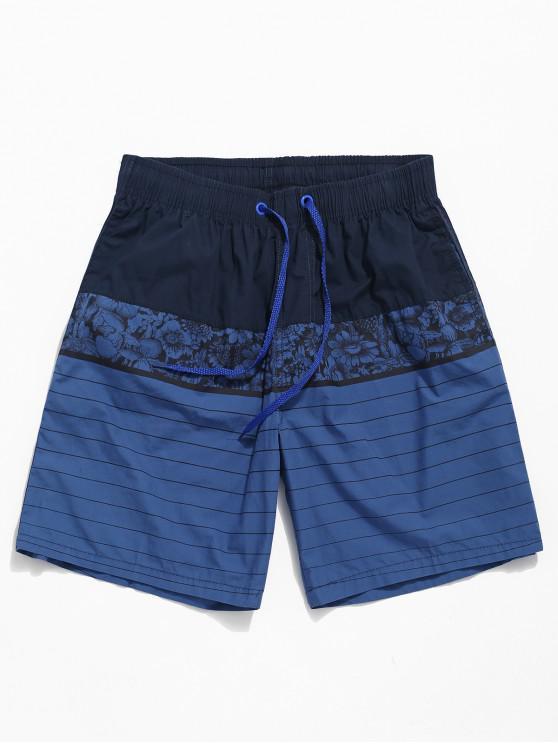 sale Painting Striped Print Beach Shorts - MIDNIGHT BLUE L