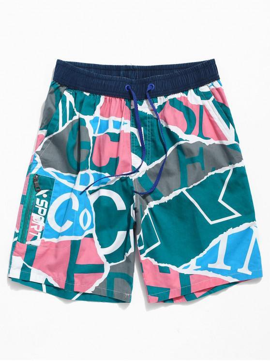 buy Geometric Letters Print Beach Shorts - DEEP SKY BLUE S