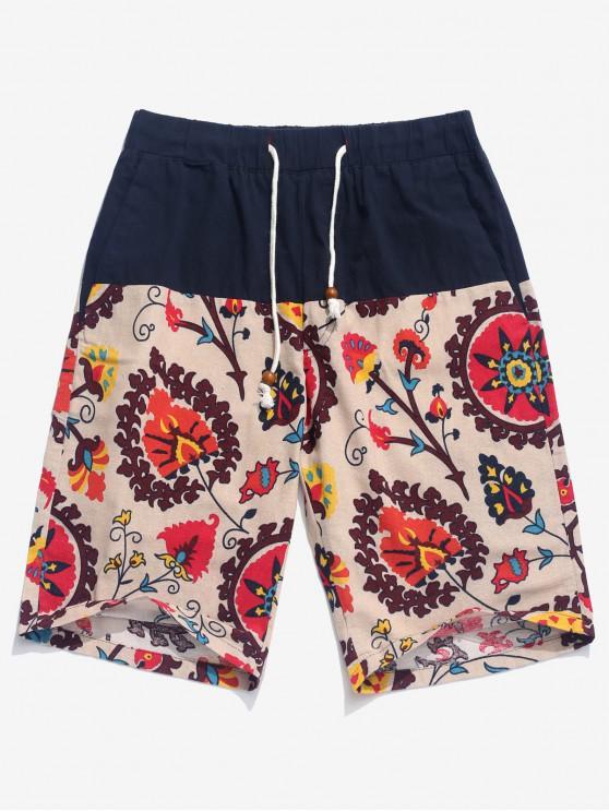 Shorts de tablero con cordón estampado de flores - Multicolor XL