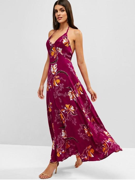 online Cut Out Knotted Floral Halter Dress - DARK CARNATION PINK M