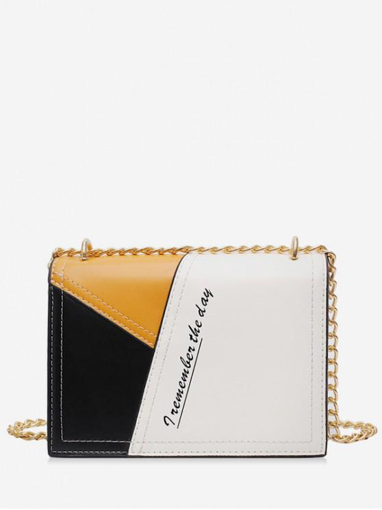 women Square Character Jointed Shoulder Chain Bag - WHITE