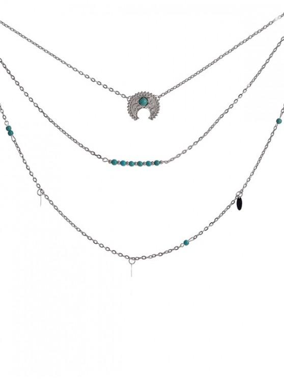 online Ethnic Moon Multilayered Necklace - SILVER