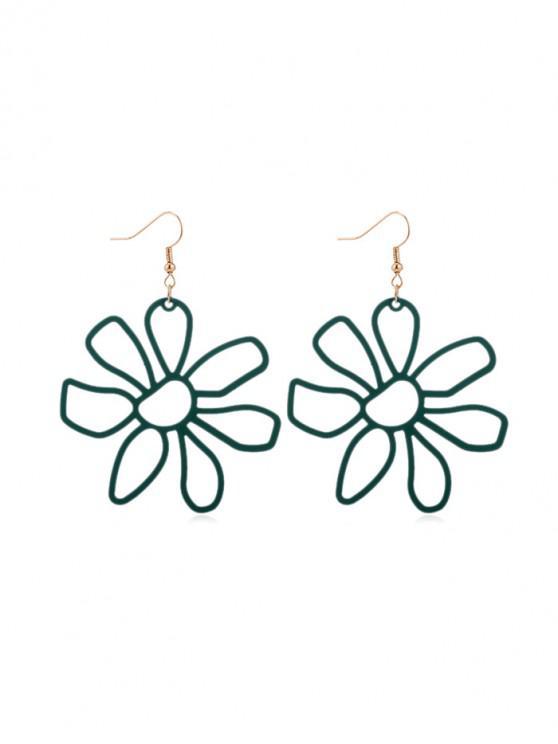 Pendientes de gancho de flor hueca - Aguamarina Mediana
