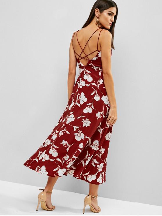 fashion Cross Midi Flower Bohemian Cami Dress - RED L