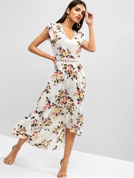 latest Cut Out Flower High Low Boho Flounce Dress - WHITE L