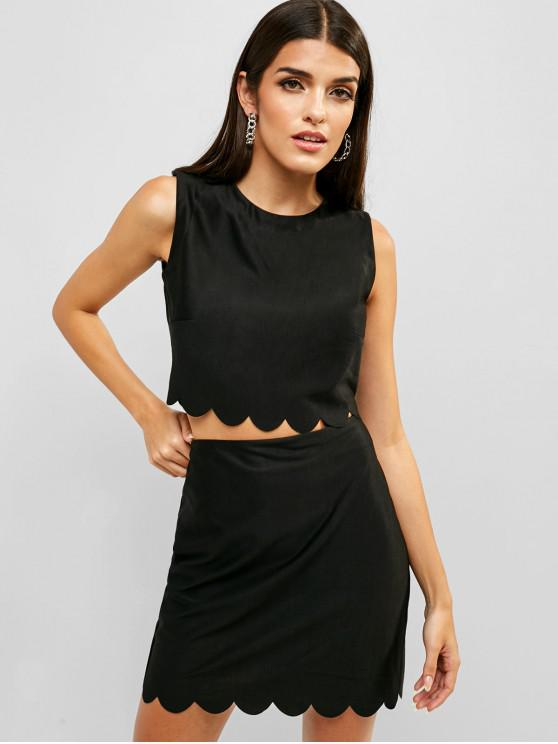 outfit ZAFUL Scalloped Zip Back Top and Mini Skirt Set - BLACK S