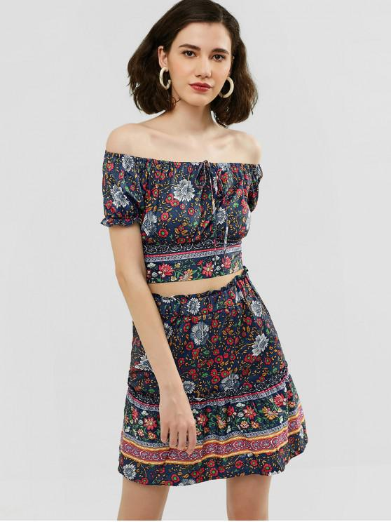 women's Floral Print Top and Flare Skirt Set - CADETBLUE L