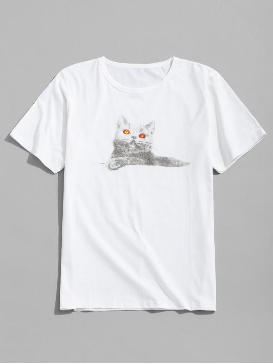 online Animal Cat Print Short Sleeves T-shirt - WHITE 2XL