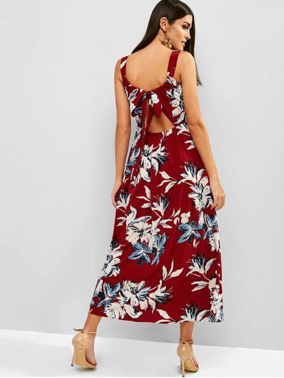 fancy Midi Flower Bohemian Tied Split Dress - RED M