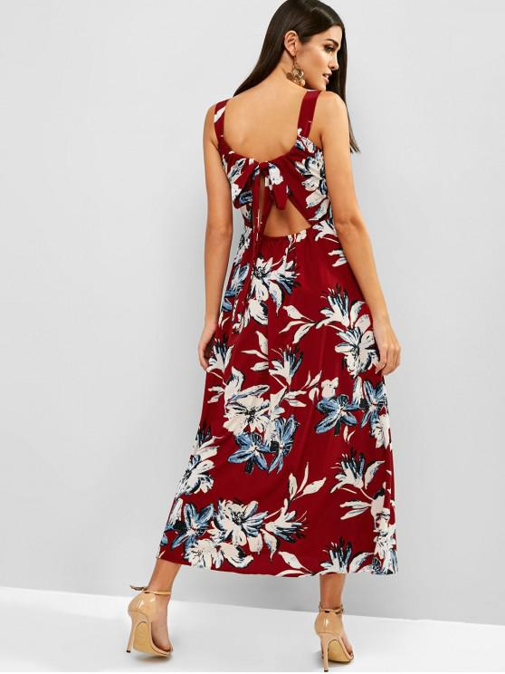 affordable Midi Flower Bohemian Tied Split Dress - RED S