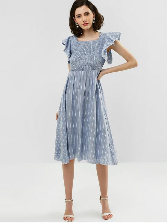 latest Striped Midi Casual Shirred Dress - BLUE GRAY L