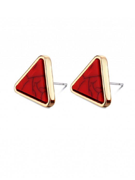 Boucles d'Oreilles Triangle Motif de Marbre - Rouge