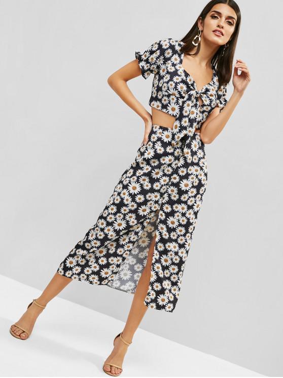 shops ZAFUL Daisy Smocked Knotted Slit Skirt Set - BLACK S