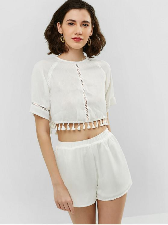 outfits ZAFUL Tassel Knotted Top and Shorts Set - WHITE S